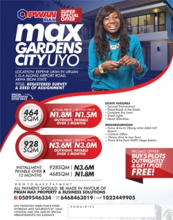 FOR SALE: Plots of Land in a Secured Environment at Max Gardens City, Uyo